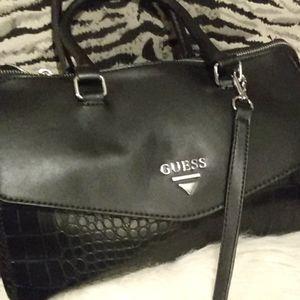 New Guess black satchel w long strap